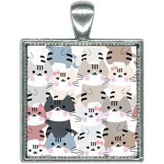 Cute Cat Couple Seamless Pattern Cartoon Square Necklace by Vaneshart