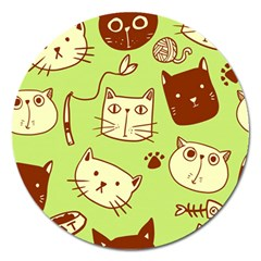 Cute Hand Drawn Cat Seamless Pattern Magnet 5  (round)