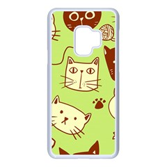 Cute Hand Drawn Cat Seamless Pattern Samsung Galaxy S9 Seamless Case(white) by Vaneshart