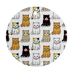 Cat Kitten Seamless Pattern Round Ornament (two Sides)