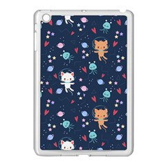 Cute Astronaut Cat With Star Galaxy Elements Seamless Pattern Apple Ipad Mini Case (white)