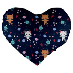 Cute Astronaut Cat With Star Galaxy Elements Seamless Pattern Large 19  Premium Heart Shape Cushions