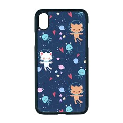 Cute Astronaut Cat With Star Galaxy Elements Seamless Pattern Iphone Xr Seamless Case (black) by Vaneshart