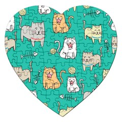 Seamless Pattern Cute Cat Cartoon With Hand Drawn Style Jigsaw Puzzle (heart) by Vaneshart