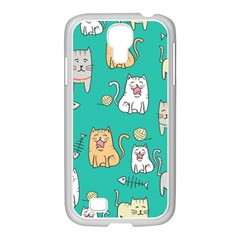 Seamless Pattern Cute Cat Cartoon With Hand Drawn Style Samsung Galaxy S4 I9500/ I9505 Case (white)