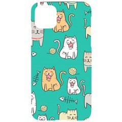 Seamless Pattern Cute Cat Cartoon With Hand Drawn Style Iphone 11 Pro Max Black Uv Print Case
