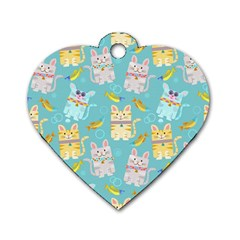 Vector Seamless Pattern With Colorful Cats Fish Dog Tag Heart (one Side)