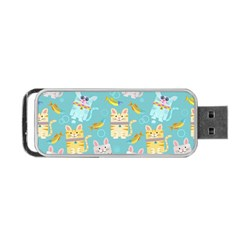 Vector Seamless Pattern With Colorful Cats Fish Portable Usb Flash (two Sides)