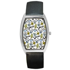 Everyday Things Pattern Barrel Style Metal Watch