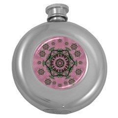 Sakura Wreath And Cherry Blossoms In Harmony Round Hip Flask (5 Oz) by pepitasart