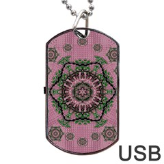 Sakura Wreath And Cherry Blossoms In Harmony Dog Tag Usb Flash (one Side) by pepitasart