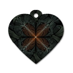 Art Abstract Fractal Pattern Dog Tag Heart (two Sides) by Wegoenart
