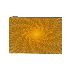 Fractal Abstract Background Pattern Gold Golden Yellow Cosmetic Bag (large) by Wegoenart
