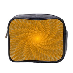 Fractal Abstract Background Pattern Gold Golden Yellow Mini Toiletries Bag (two Sides) by Wegoenart