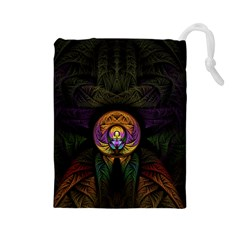 Fractal Abstract Background Pattern Drawstring Pouch (large) by Wegoenart