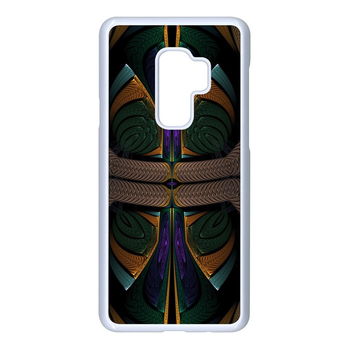 Fractal Abstract Background Pattern Samsung Galaxy S9 Plus Seamless Case(White)