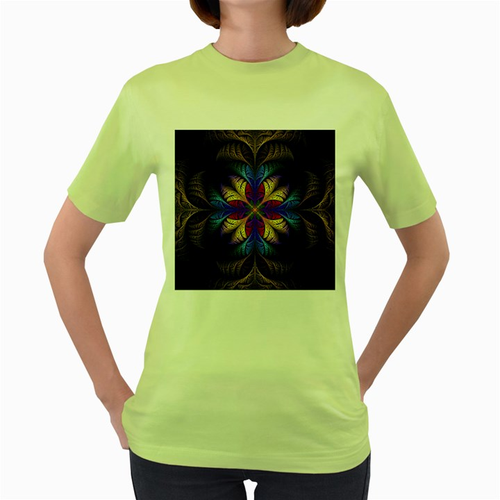 Fractal Flower Fantasy Floral Women s Green T-Shirt