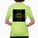 Fractal Flower Fantasy Floral Women s Green T-Shirt Back