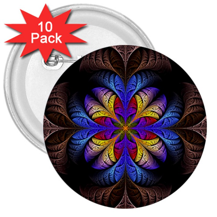 Fractal Flower Fantasy Floral 3  Buttons (10 pack)