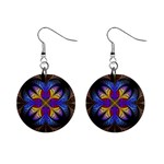 Fractal Flower Fantasy Floral Mini Button Earrings Front