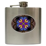 Fractal Flower Fantasy Floral Hip Flask (6 oz) Front