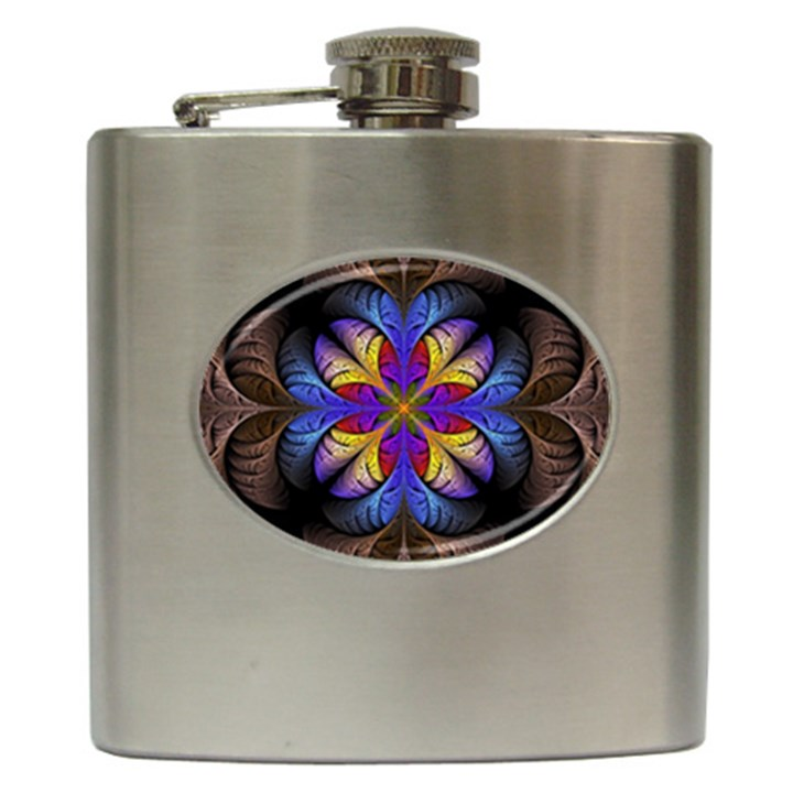 Fractal Flower Fantasy Floral Hip Flask (6 oz)