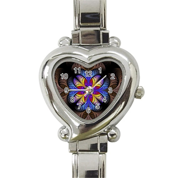 Fractal Flower Fantasy Floral Heart Italian Charm Watch