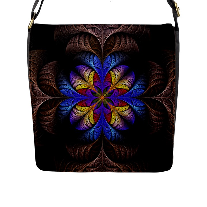 Fractal Flower Fantasy Floral Flap Closure Messenger Bag (L)