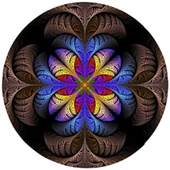 Fractal Flower Fantasy Floral Wooden Puzzle Round