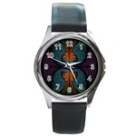 Art Abstract Fractal Pattern Round Metal Watch Front