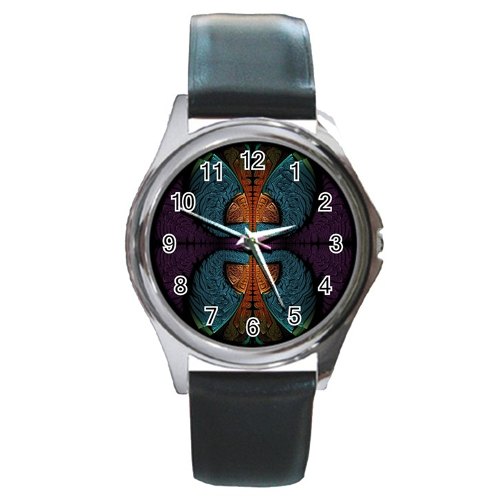 Art Abstract Fractal Pattern Round Metal Watch