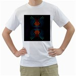 Art Abstract Fractal Pattern Men s T-Shirt (White) (Two Sided) Front