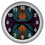 Art Abstract Fractal Pattern Wall Clock (Silver) Front