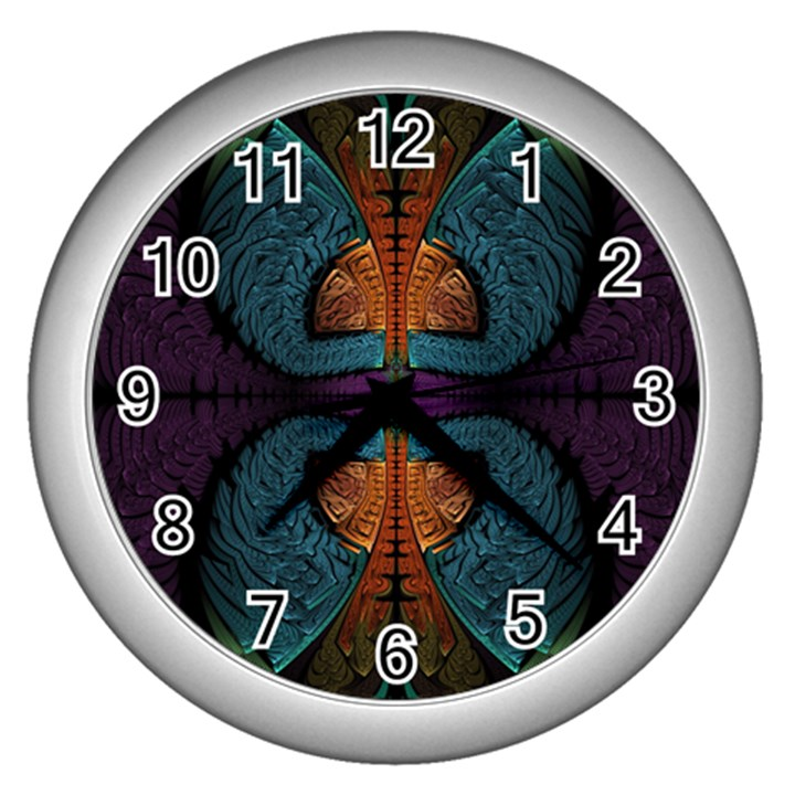 Art Abstract Fractal Pattern Wall Clock (Silver)