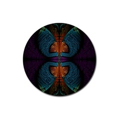 Art Abstract Fractal Pattern Rubber Round Coaster (4 Pack)