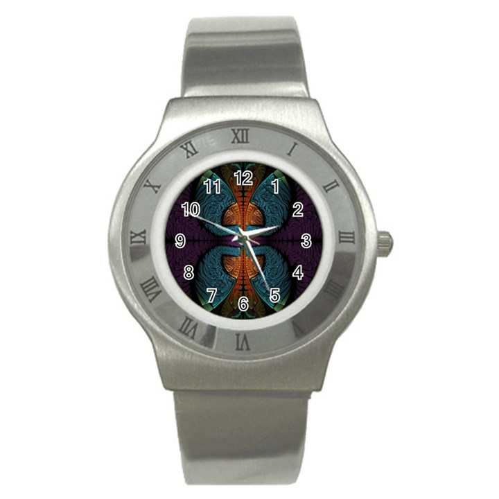 Art Abstract Fractal Pattern Stainless Steel Watch