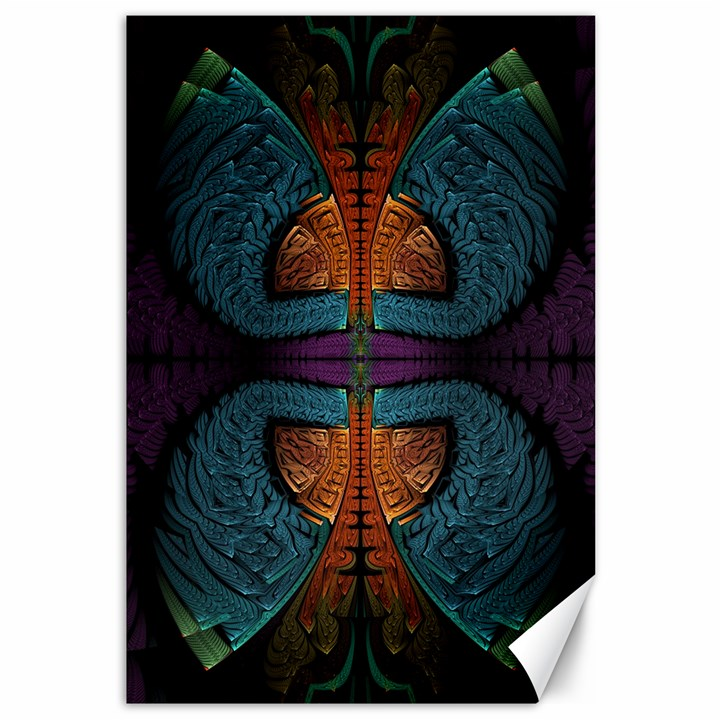 Art Abstract Fractal Pattern Canvas 12  x 18