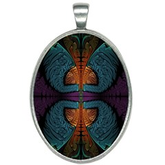 Art Abstract Fractal Pattern Oval Necklace