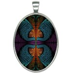 Art Abstract Fractal Pattern Oval Necklace Front