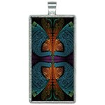 Art Abstract Fractal Pattern Rectangle Necklace Front