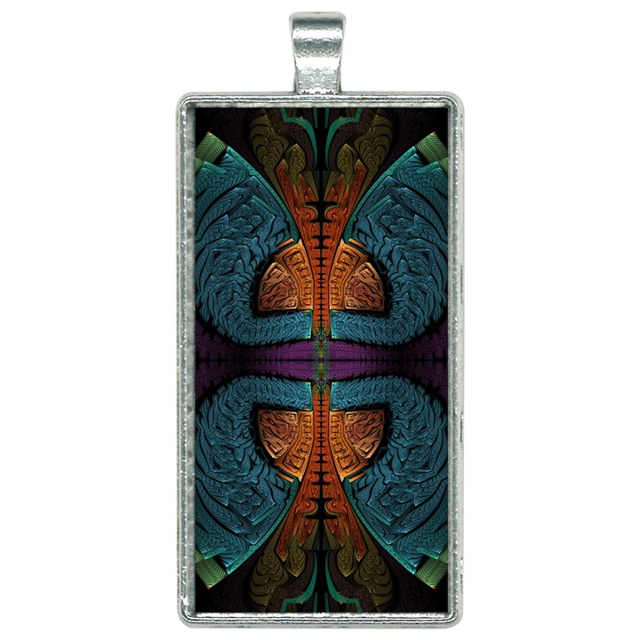 Art Abstract Fractal Pattern Rectangle Necklace