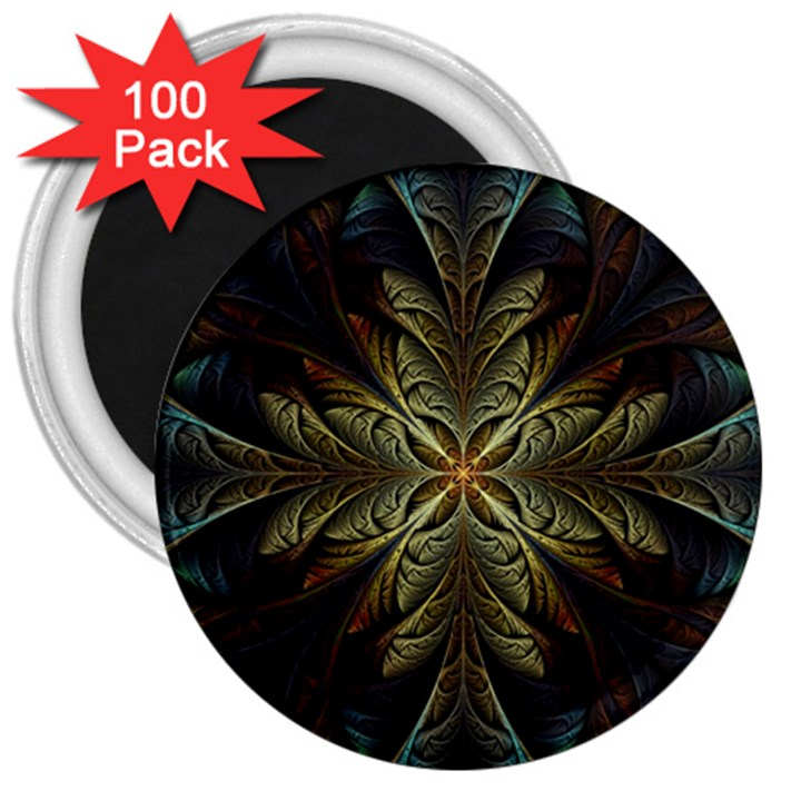 Fractal Art Abstract Pattern 3  Magnets (100 pack)