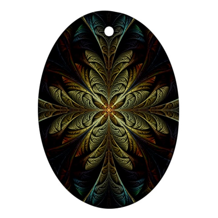 Fractal Art Abstract Pattern Oval Ornament (Two Sides)
