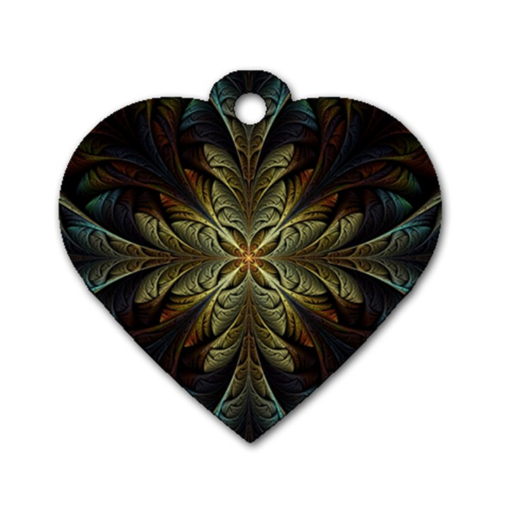 Fractal Art Abstract Pattern Dog Tag Heart (Two Sides)