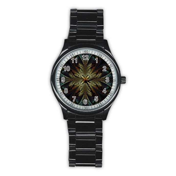 Fractal Art Abstract Pattern Stainless Steel Round Watch
