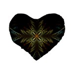 Fractal Art Abstract Pattern Standard 16  Premium Flano Heart Shape Cushions Back