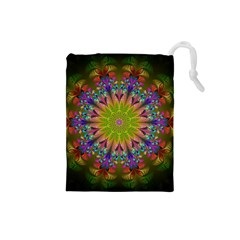 Fractal Abstract Background Pattern Drawstring Pouch (small) by Wegoenart