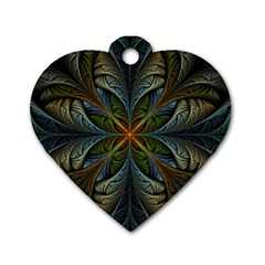 Fractal Art Abstract Pattern Dog Tag Heart (two Sides) by Wegoenart