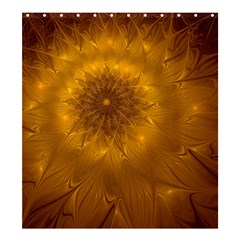 Fractal Flower Floral Gold Pattern Shower Curtain 66  X 72  (large)