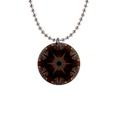 Fractal Abstract Star Pattern 1  Button Necklace